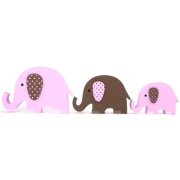 Wooden Block Freestanding elephant set of 3  PINK/CHOCOLATE(trunks up)