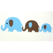 Wall Motif Set -E lephant (Blue & Chocolate)Painted