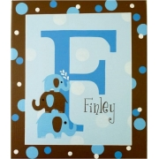Personalised Kids Name Canvas Wall Art Canvas Name Plaque Handpainted Elephants