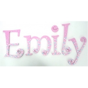 Alphabet Letters HandpaintedChoose your font & sizeConfetti White & Blue Spots on Daisy Pink