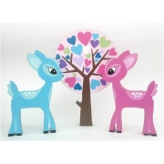 Wooden Block Freestanding deers & tree set