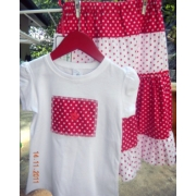 ClothesChristmas Skirt 4 Tiered Gracie Skirt & Shirt Set Red & Whitesize 4