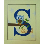 Canvas Name Plaque HandpaintedOwl (Blue & Green)