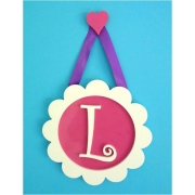 .Initial Frame CIRCLE'Background Pink with Heart hanger