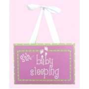 Baby Sleeping Sign - Pink & Lime SpotsColours can be customised to suit