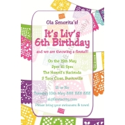 Mexican Fiesta Theme Personalised Birthday Invitation Personalised