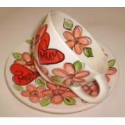 Handpainted Mug - Floral Mum Cup and Saucer