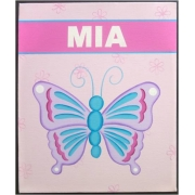 Personalised Kids Name Canvas Wall Art Canvas Name Plaque Handpainted Butterfly Stripe