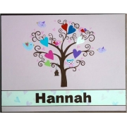 Personalised Name Plaque for kids wall or door Little Tree Owl