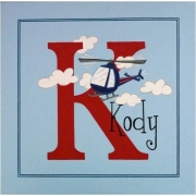 Personalised Kids Name Canvas Wall Art Canvas Name Plaque Handpainted Helicopter