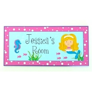 Personalised Name Plaque for kids wall or door Mermaid - Blonde Hair