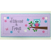 Name Plaque'Little Owl - Purple'