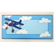 Personalised Name Plaque for kids wall or door Fly Away Retro Plane