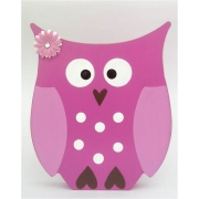 Wooden Block Freestanding owl - pink