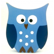 Wooden Block Freestanding owl - blue