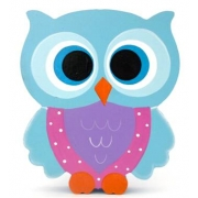 Wooden Block Freestanding feathered owl bright eyes - aqua, purple & pink