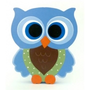 Wooden Block Freestanding feathered owl bright eyes - blue, green & chocolate