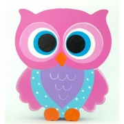 Wooden Block Freestanding feathered owl bright eyes - pink, purple & aqua