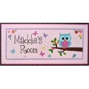 Name Plaque'Little Owl - Pink'