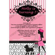 Paris Theme Personalised Birthday Invitation Personalised