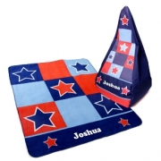 Blanket & Bean Bag SET Boys Astro Star Fleece Personalised