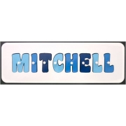 Personalised Kids Wooden Jigsaw Name Puzzle (Three Blues)