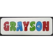Personalised Kids Wooden Jigsaw Name Puzzle (Bright Green/Bermuda Blue/Red)