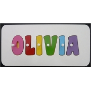 Personalised Kids Wooden Jigsaw Name Puzzle (Rainbow for Girls)