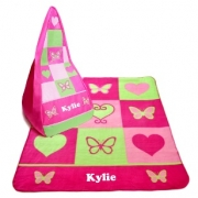 Blanket & Bean Bag SET Girls Flowers and Butterflies Fleece Personalised