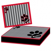 Pet Bed & Blanket Pack - Grey Checkers & Stripes - Blanket & Bed (Personalised)