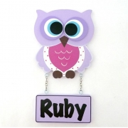 Door Name Plaque for Kids - Door Motif Plaque OWL MAUVE