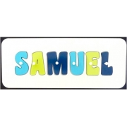 Personalised Kids Wooden Jigsaw Name Puzzle (Aqua/Lime/Navy)