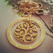 Family Tree Stamped Necklace - Mix Gold Fill and Bronze