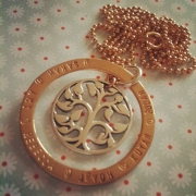Family Tree Stamped Necklace - Mix Gold Fill and Silver