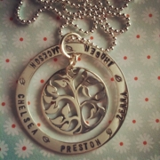 Family Tree Stamped Necklace - Silver