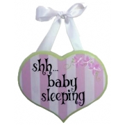 Baby Sleeping Sign - Pink & Lime HeartColours can be customised to suit