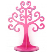 Jewellery Tree - LARGE Choose from over 20 colours shown here in dark pink gloss with blue gems