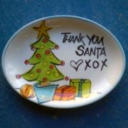 Handpainted Plate - Thank You Santa Tree