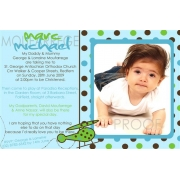 Christening Invitation 'Polka Dot Green'