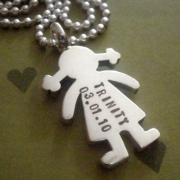 Paper Doll - Girl Stamped Necklace