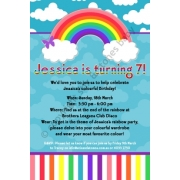 Rainbow Party Personalised Birthday Invitation Personalised