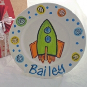 Handpainted Plate - Xmas Rocket