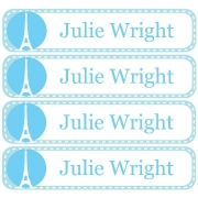 Personalised School LabelsParis Pastel Blue - Labels Vinyl108 labelsfree shipping