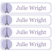 Personalised School LabelsParis Pastel Purple - Labels Vinyl108 labelsfree shipping