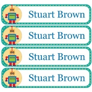 Personalised School LabelsRoboman Teal - Labels Vinyl108 labelsfree shipping