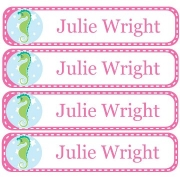 Personalised School LabelsSeahorse Pink - Labels Vinyl108 labelsfree shipping