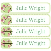 Personalised School LabelsSitting Owl Green - Labels Vinyl108 labelsfree shipping