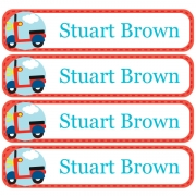 Personalised School LabelsTransport Pastel Red - Labels Vinyl108 labelsfree shipping