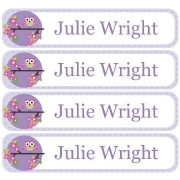 Personalised School LabelsSitting Owl Purple - Labels Vinyl108 labelsfree shipping