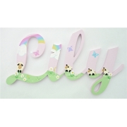 Scripted Name Plaque Wooden Letters for LARGE Fonts WITH A THEMED PAINTED PATTERN Starting from 3+ letters Themed Lamb in the Meadow Design